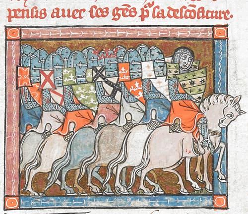 Malgré la défaite (« desconfiture ») et la tristesse qui se lit sur le visage du premier chevalier, les chevaux sont parfaitement alignés et restent dignes - folio 199 r° #Terressens